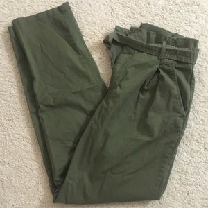 Army Green Paper Bag Utility Pants